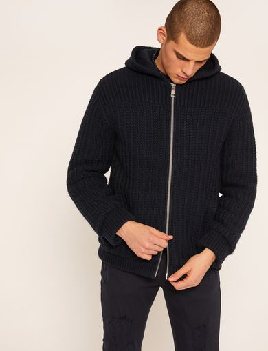 FAUX-SHERPA LINED ZIP-UP SWEATER JACKET