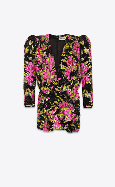 SAINT LAURENT ドレス レディース all over embroidered Deep V neck dress a_V4
