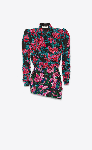 SAINT LAURENT Robes Femme Robe cache-cœur asymétrique all over brodée a_V4