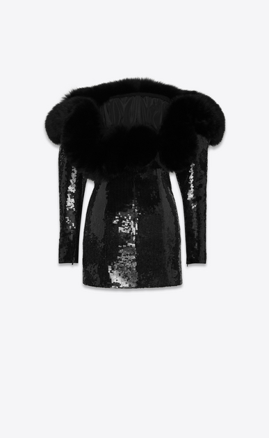 SAINT LAURENT Dresses Woman all over sequin embroidered bustier dress with fox neckline b_V4