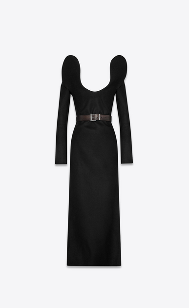 SAINT LAURENT ドレス レディース Arabesque décolleté column dress in drap de laine a_V4