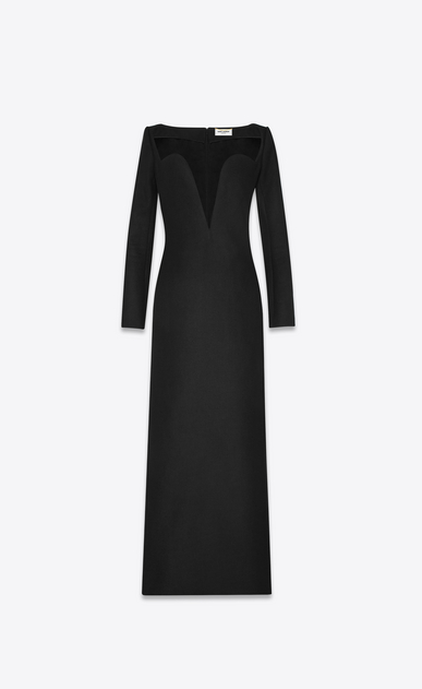 SAINT LAURENT Dresses Woman plunging heart neckline column dress in drap de laine a_V4