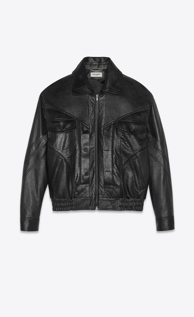SAINT LAURENT Casual Jackets Woman lambskin jacket with python cuts a_V4