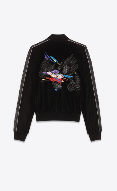 SAINT LAURENT Casual Jackets Man back-Embroidered velvet teddy a_V4