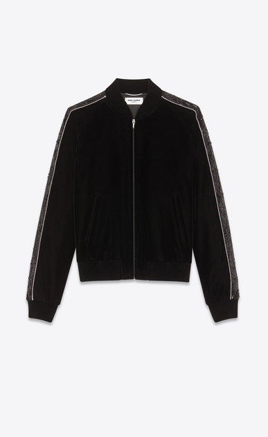 SAINT LAURENT Casual Jackets Man back-Embroidered velvet teddy b_V4