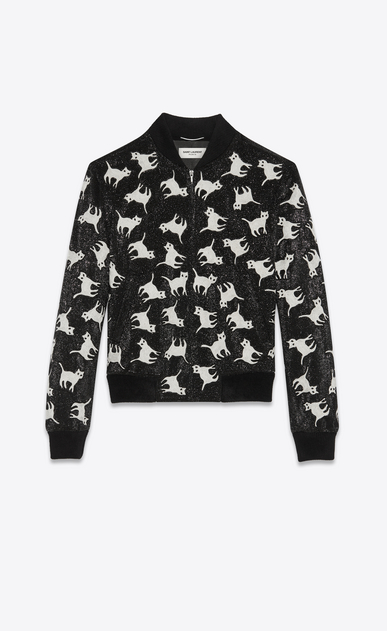 SAINT LAURENT Casual Jackets Man all over cat embroidered teddy a_V4