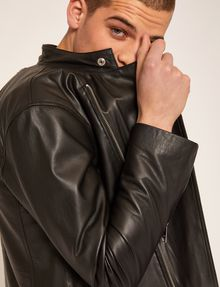ARMANI EXCHANGE CLEAN-FRONT LEATHER MOTO Blouson Jacket Man a