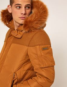 ARMANI EXCHANGE FAUX FUR-LINED HOODED MELTON PARKA PUFFER JACKET Man b