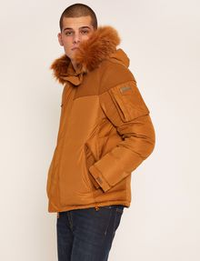 ARMANI EXCHANGE FAUX FUR-LINED HOODED MELTON PARKA PUFFER JACKET Man f