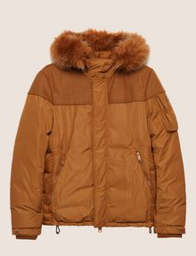 ARMANI EXCHANGE FAUX FUR-LINED HOODED MELTON PARKA PUFFER JACKET Man r