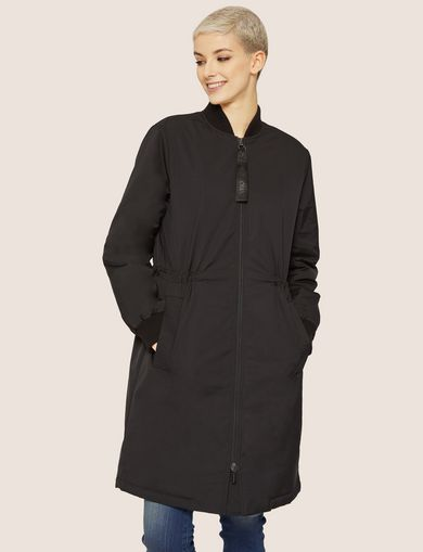 LOGO ZIPPER LONG BOMBER COAT
