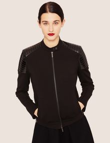 ARMANI EXCHANGE CHANNEL-QUILTED PATENT MOTO JACKET Blouson Jacket Woman a