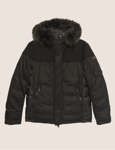 FAUX FUR-LINED HOODED MELTON PARKA