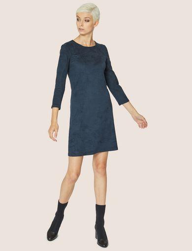 FAUX-SUEDE CUTOUT-BACK SHIFT DRESS