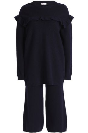 REDValentino Ruffle-trimmed embroidered brushed-wool sweater and pants set