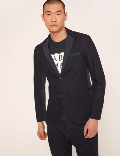 PIECED DENIM TUXEDO JACKET