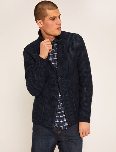 TEXTURED WOOL-BLEND SWEATER BLAZER