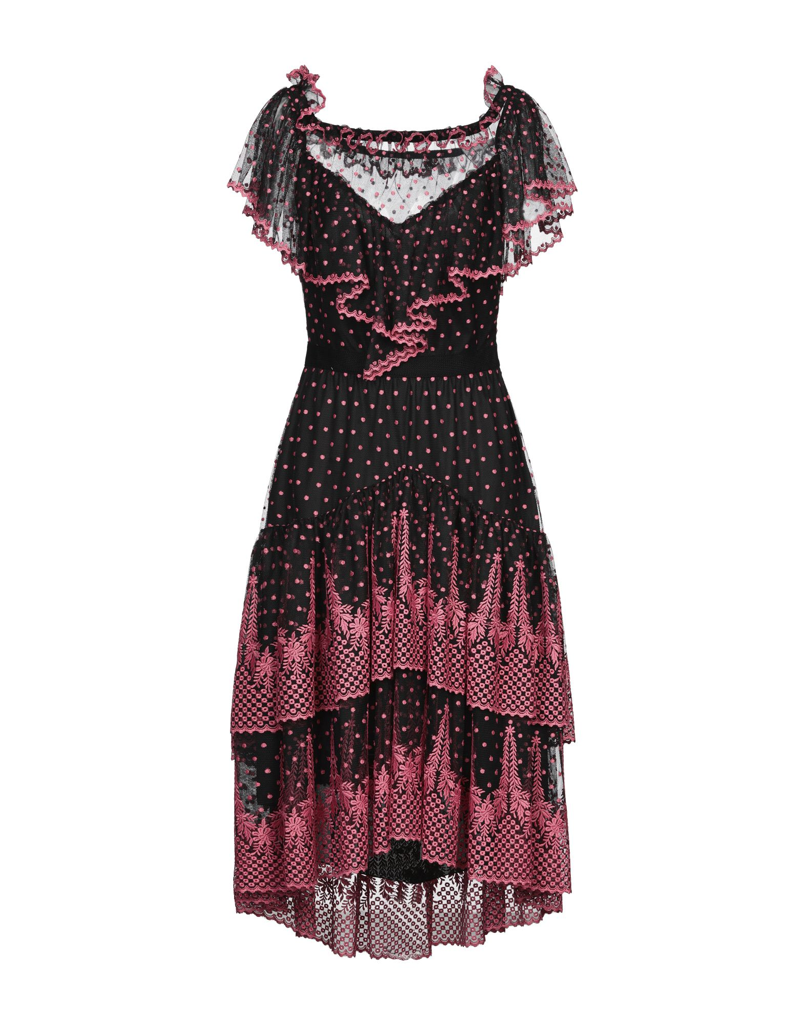 PHILOSOPHY di LORENZO SERAFINI 3/4 length dresses. polka dots, wide neckline, ruffles, short sleeves, no pockets, side closure, zip, fully lined, tulle, dress. 100% Polyester