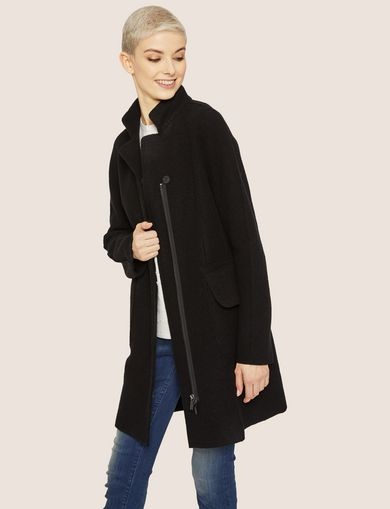WOOL-BLEND STAND COLLAR COAT