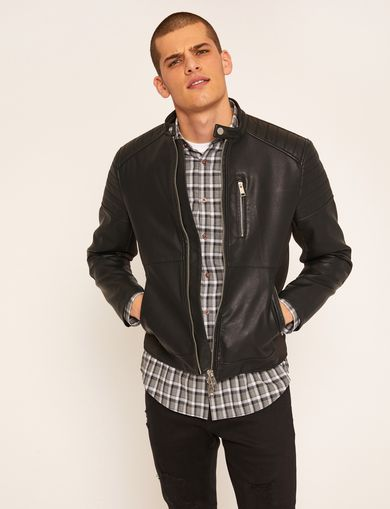 CHANNEL-QUILTED MOTO JACKET