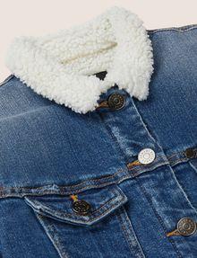 ARMANI EXCHANGE GIRLS FAUX-SHERPA LONGLINE TRUCKER Denim Jacket [*** pickupInStoreShipping_info ***] d