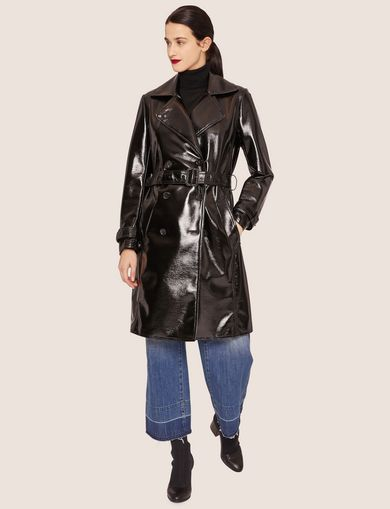 PATENT DOUBLE-BREASTED TRENCH COAT