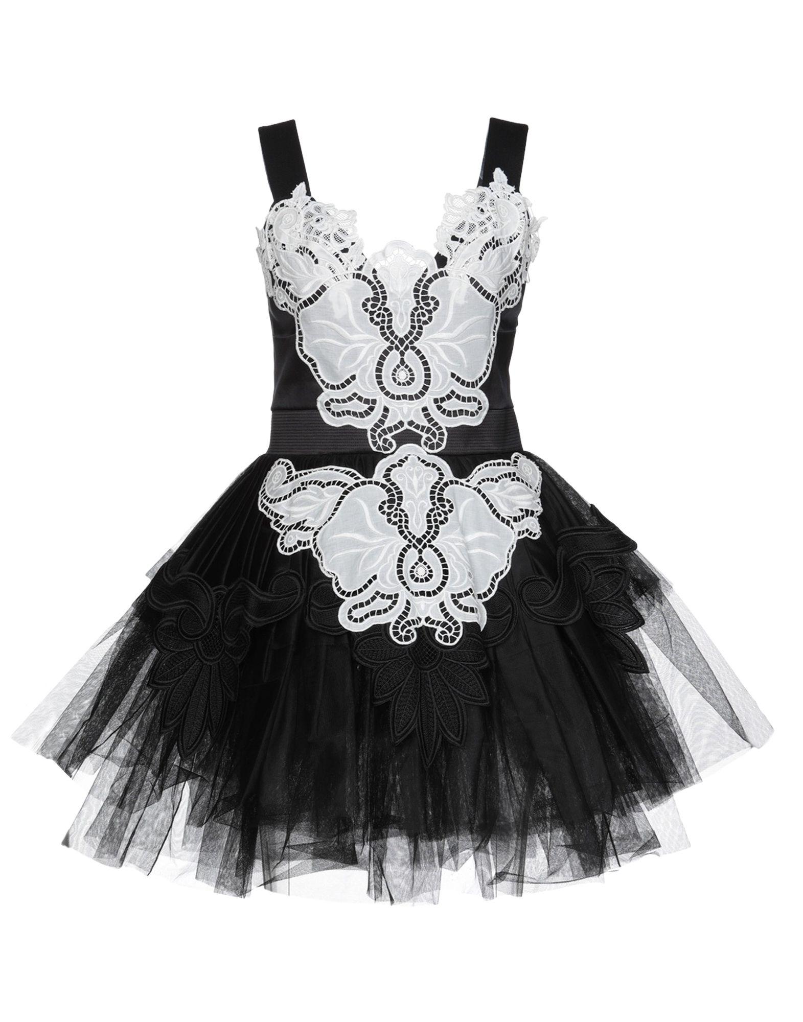 《送料無料》FAUSTO PUGLISI レディース ミニワンピース&ドレス ブラック 38 ナイロン 100% / ポリエステル / シルク
