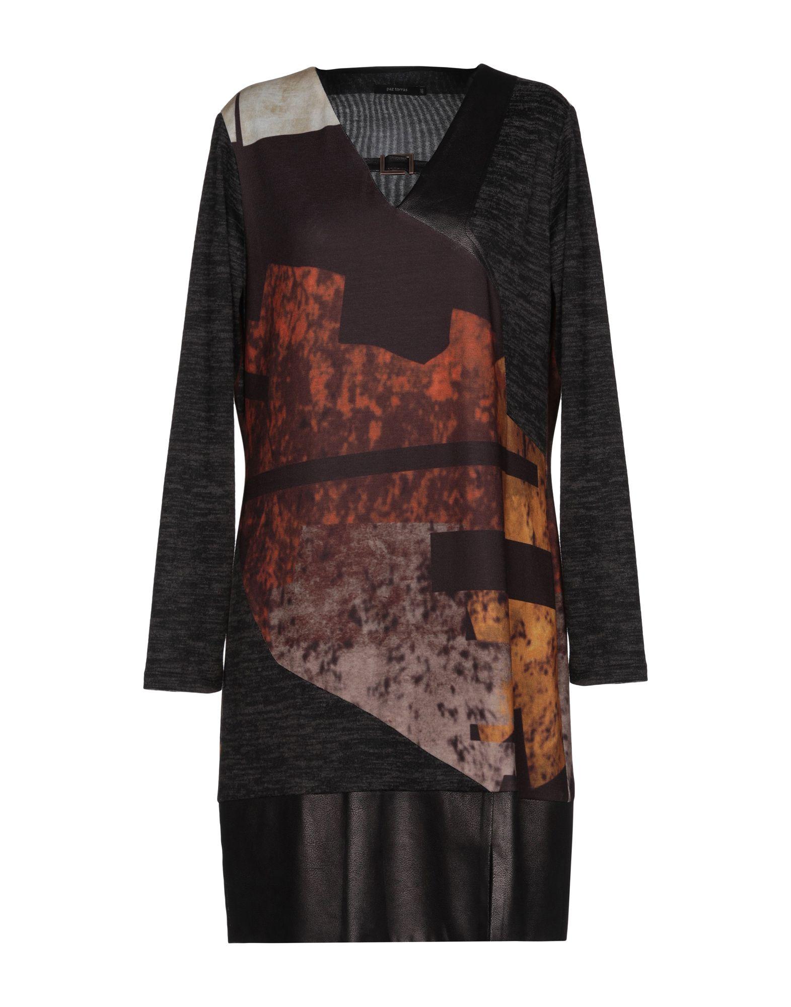 《送料無料》PAZ TORRAS レディース ミニワンピース&ドレス ダークブラウン 46 ポリエステル 93% / ポリウレタン 4% / レーヨン 3%
