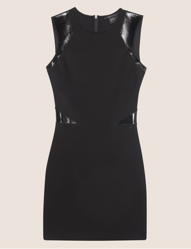 FAUX-LEATHER PANELED BODYCON