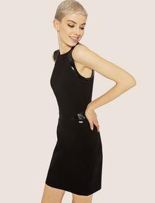 ARMANI EXCHANGE FAUX-LEATHER PANELED BODYCON Midi Dress Woman a