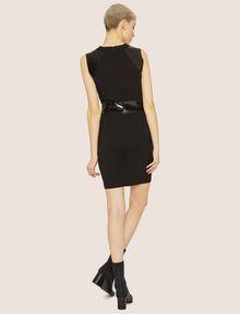 ARMANI EXCHANGE FAUX-LEATHER PANELED BODYCON Midi Dress Woman e