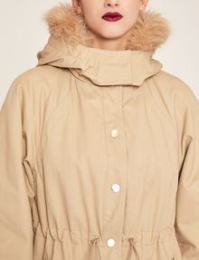ARMANI EXCHANGE FAUX-FUR TRIMMED HOODED ANORAK Coat Woman b
