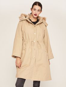 ARMANI EXCHANGE FAUX-FUR TRIMMED HOODED ANORAK Coat Woman f