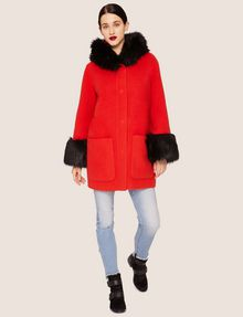 ARMANI EXCHANGE FAUX-FUR TRIMMED WOOL-BLEND COAT Coat [*** pickupInStoreShipping_info ***] d