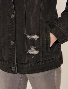 ARMANI EXCHANGE DISTRESSED LONGLINE BLACK DENIM JACKET Denim Jacket Woman b