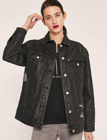 ARMANI EXCHANGE DISTRESSED LONGLINE BLACK DENIM JACKET Denim Jacket Woman f