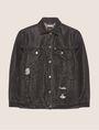 ARMANI EXCHANGE DISTRESSED LONGLINE BLACK DENIM JACKET Denim Jacket Woman r