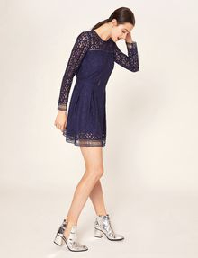 ARMANI EXCHANGE SHEER LACE FIT-AND-FLARE Mini dress [*** pickupInStoreShipping_info ***] d