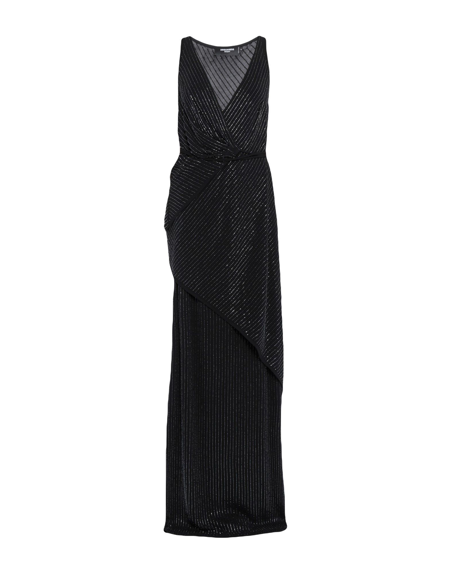 DSQUARED2 Long dresses. jersey, beaded, solid color, deep neckline, sleeveless, no pockets, front closure, self-tie wrap closure, fully lined, dress, small sized. 100% Viscose