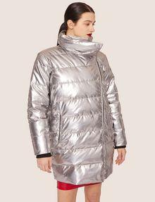 ARMANI EXCHANGE METALLIC ASYMMETRICAL PUFFER COAT PUFFER JACKET Woman f