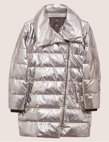 ARMANI EXCHANGE METALLIC ASYMMETRICAL PUFFER COAT PUFFER JACKET Woman r