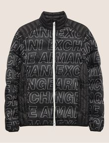 ARMANI EXCHANGE ALLOVER LOGO DOWN-FILL PUFFER JACKET PUFFER JACKET [*** pickupInStoreShippingNotGuaranteed_info ***] r