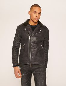 ARMANI EXCHANGE QUILTED SLEEVE FAUX-SHEARLING MOTO PU Man f