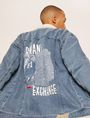 ARMANI EXCHANGE GRAFFITI LOGO FAUX-SHERPA TRUCKER JACKET Denim Jacket Man a