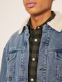 ARMANI EXCHANGE GRAFFITI LOGO FAUX-SHERPA TRUCKER JACKET Denim Jacket Man b