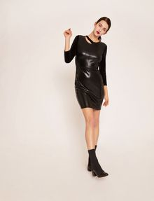 ARMANI EXCHANGE ASYMMETRICAL PIECED FAUX-LEATHER BODYCON Mini dress [*** pickupInStoreShipping_info ***] a