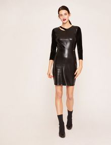 ARMANI EXCHANGE ASYMMETRICAL PIECED FAUX-LEATHER BODYCON Mini dress [*** pickupInStoreShipping_info ***] d