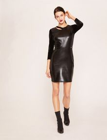 ARMANI EXCHANGE ASYMMETRICAL PIECED FAUX-LEATHER BODYCON Mini dress [*** pickupInStoreShipping_info ***] f