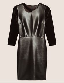ARMANI EXCHANGE ASYMMETRICAL PIECED FAUX-LEATHER BODYCON Mini dress [*** pickupInStoreShipping_info ***] r