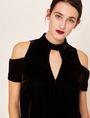 ARMANI EXCHANGE VELVET COLD-SHOULDER CUTOUT DRESS Midi dress [*** pickupInStoreShipping_info ***] a